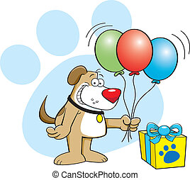 Dog with balloons