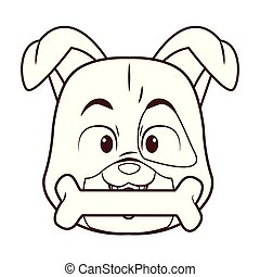 Dog with bone cartoon
