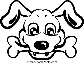 Dog with bone drawing, illustration, vector on white background.