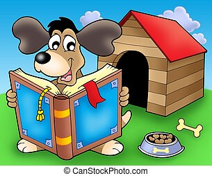 Dog with book in front of kennel - color illustration.