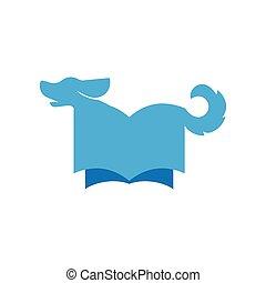 Dog with book logo icon vector