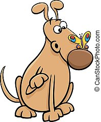 dog with butterfly cartoon illustration
