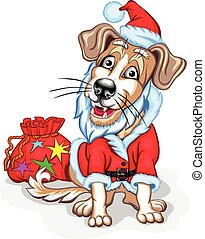 Dog with Christmas gifts. Santa Claus