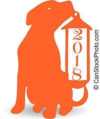 Dog with christmas lantern, orange silhouette on white background.