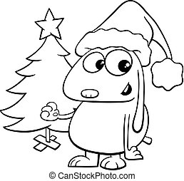 dog with Christmas tree coloring book