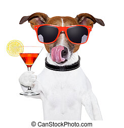 dog with cocktail - dog cooling with a martini refreshment...