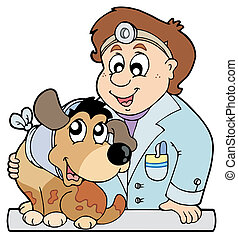 Dog with collar at veterinarian - vector illustration.