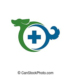 Dog with cross medical logo icon vector