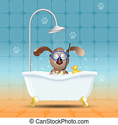 Dog with diving mask in bathroom