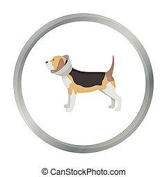 Dog with elizabethan collar icon in cartoon design isolated on white background. Veterinary clinic symbol stock vector illustration. - stock vector