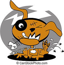 Dog with fleas clip art graphic