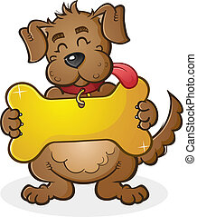 Dog with Giant Collar Tag Sign Cart - A cheerful dog cartoon...