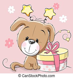 Dog with gift