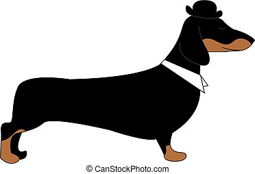 Dog with hat, illustration, vector on white background.