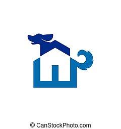 Dog with home logo icon vector