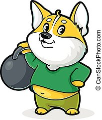 Dog with kettlebell - Cartoon illustration of a dog with a ...