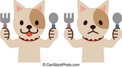 Dog with knife and spoon
