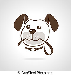 dog with leash - Dog head with leash icon vector ...