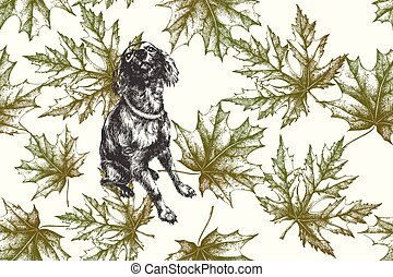 Dog with maple leaves, autumn seamless pattern. Hand-drawn, vector illustration