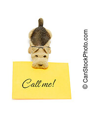 Dog with message call me