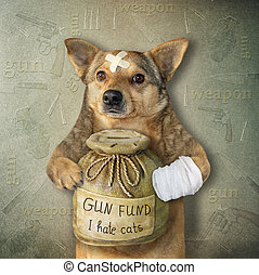 Dog with money box for gun fund 2