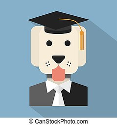 Dog With Mortarboard Pedigree.