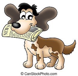 Dog with news - Color illustration of dog with newspaper.