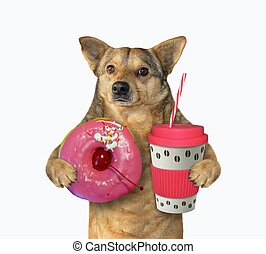 Dog with red cup of coffee