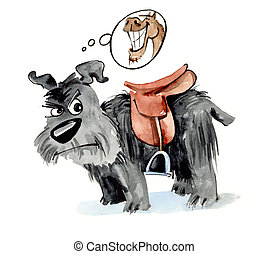 Dog with saddle - humorous illustration of shaggy dog with...