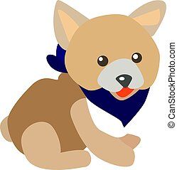 Dog with scarf, illustration, vector on white background.