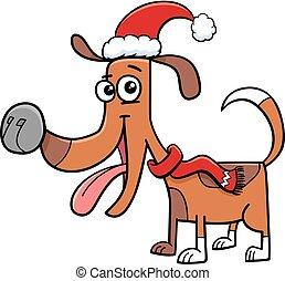 dog with scarf on Christmas cartoon