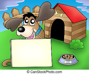 Dog with sign in front of kennel - color illustration.