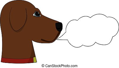 A labrador retriever dog with a speech bubble that can say anything you like. The cartoon is hand drawn.