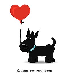 Dog with the heart balloon