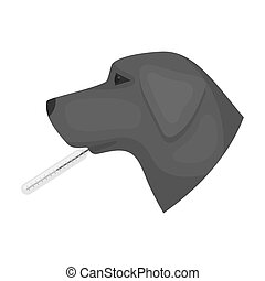 Dog with thermometer icon in monochrome style isolated on white background. Veterinary clinic symbol stock bitmap, raster illustration.
