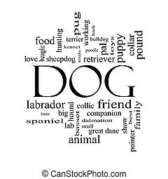 dog, woord, wolk, concept, in, zwart wit