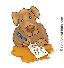 dog writing a letter - humorous illustration of dog writing...