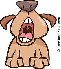 dog yawn cartoon illustration - Cartoon Illustration of...