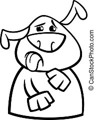 dog yuck face cartoon coloring page - Black and White...