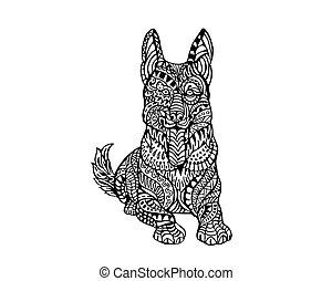 Dog Zentangle Illustration
