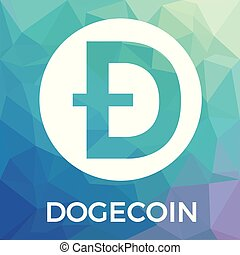 Dogecoin (Doge) cryptocurrency coin logo - blockchain vector