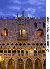 Doge's Palace in Venice sunrise detail