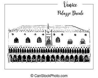 Doge's Palace or Palazzo ducale. vector sketch. Venice