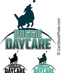 Doggie Daycare is an illustration of a design for a dog...