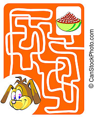 Doggy and food bowl - Maze game for kids: Help the doggy...