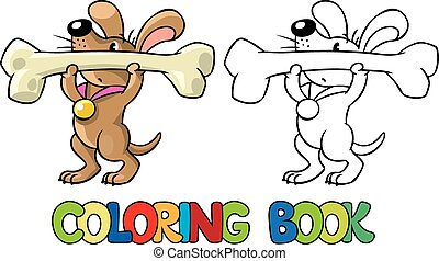 Doggy-athlete lifts the bar. Coloring book