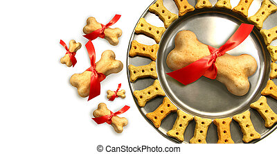 doggy, biscuits, pour, noël, contre, blanc