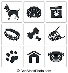 Doggy icon collection - Doggy icons set on a white...