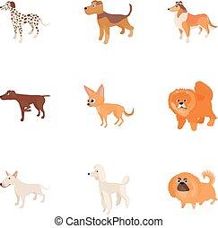 Doggy icons set, cartoon style