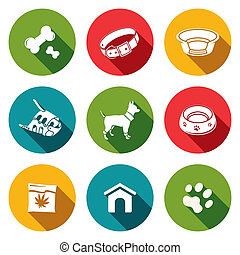 Doggy icons set - Doggy icon collection on a colored...